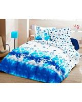 Printed Flat Bed Sheet Natura Yin Design Blue - Comfort