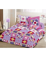 Printed fitted bed sheet Sae Fog JOY design - Comfort