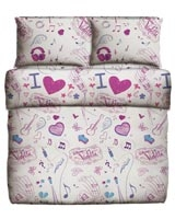 Printed Pillowcase Size 50X70 cm Music & Love Design - Best Bed