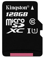 MicroSDXC Class 10 UHS-I card 128GB - Kingston