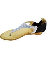 Flat Sandal SliverXBlack 3635 - Mr.Joe