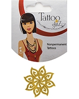 Glitter Tattoo Gold Color Flower