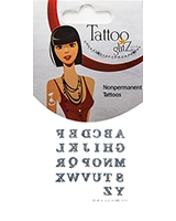 Glitter Tattoo Silver Color Alphabets