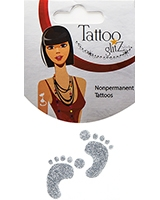 Glitter Tattoo Silver Foot Print