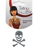 Glitter Tattoo Silver Skull