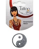 Glitter Tattoo Silver Yin Yang