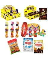 1 S & S Jumbo + 1 Choco Fun Jumbo + 1 Toffee & Candy + 1 Baby Cola + 1 Toffee 90g Milk + 1 Toffee 90g Chocolate + 2 Bag Mini Bon 90g - Sima